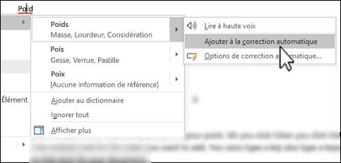 Le menu contextuel de l'Éditeur sous un mot mal orthographié avec l'option Ajouter à la liste des corrections automatiques mise en évidence
