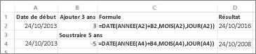 Exemples d'ajout et de soustraction de dates