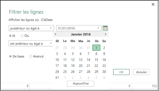 Excel Power BI - Prise en charge du sélecteur de dates pour la saisie des valeurs de date dans les boîtes de dialogue Filtrer les lignes et Colonnes conditionnelles