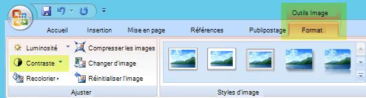 Sous l'onglet outils image-format, dans le groupe ajuster, sélectionnez contraste.