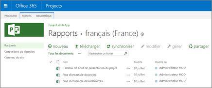 La bibliothèque de rapports de votre site Project Online inclut des exemples de rapport