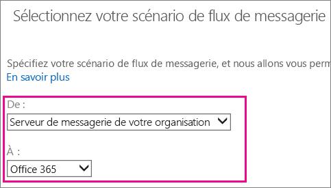 Choisir Office365 parmi les serveurs de messagerie de votre organisation