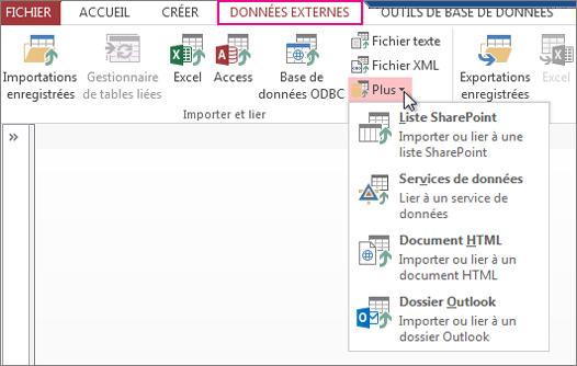 Options de l'onglet données externes dans Access