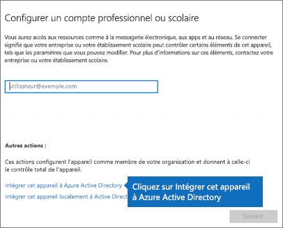 Cliquez sur Joindre cet appareil à Azure ActiveDirectory.