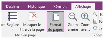 Capture d'écran du bouton Format du papier dans OneNote2016