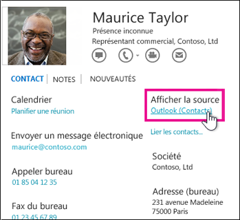 Lien Afficher la source d'Outlook dans une carte de visite