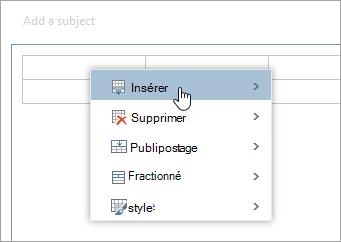 Capture d'écran du menu contextuel table