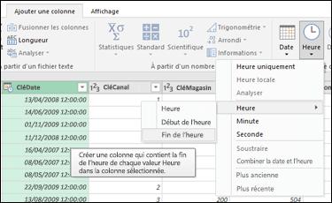 Power Query - Extraire le début ou la fin d'une heure à partir d'une colonne Date/Heure ou Heure dans l'Éditeur de requête