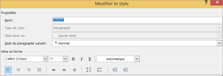 Word - Modifier le style - Format