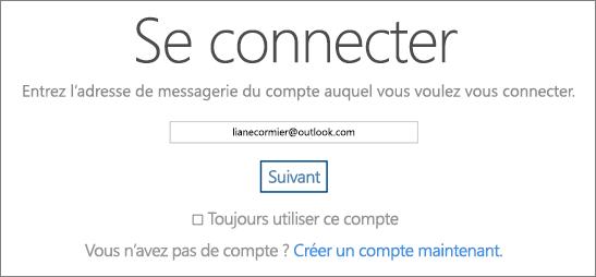 Capture d'écran de la page de connexion à OneDrive.