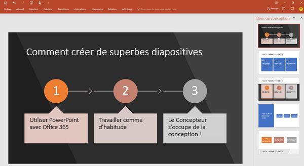 Le Concepteur PowerPoint convertit du texte de processus en graphique.