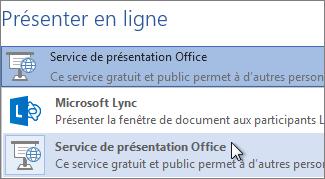 Présenter en ligne avec le service Présentations Office en ligne