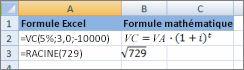 Les formules Excel et leurs formules mathématiques similaire