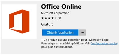 Page extensions Office Online dans le Microsoft Store