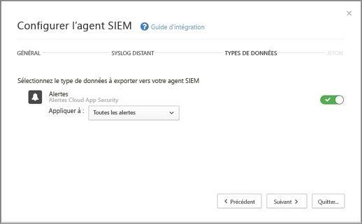 Sélectionnez les alertes et les activités à exporter vers votre serveur SIEM.