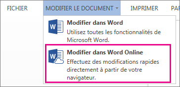Commande Modifier de Word Online