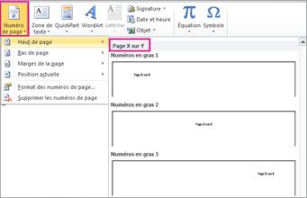 Sélectionner un format de page X sur Y