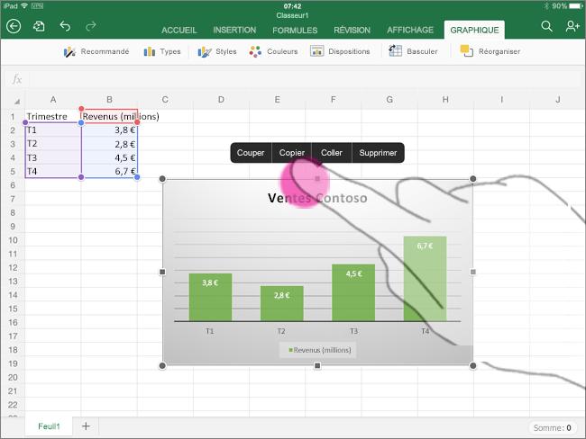 Copier un graphique à partir d'Excel pour iPad