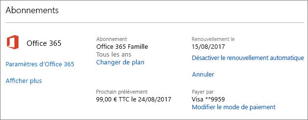 Capture d'écran de la page Services et abonnements