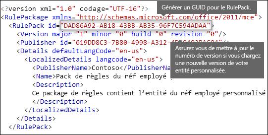 Balisage XML montrant l'élément RulePack