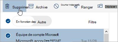 Capture d'écran du bouton Supprimer