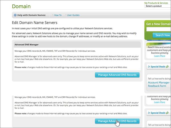 Cliquez sur Manage Advanced DNS Records (Gérer les enregistrements DNS avancés)