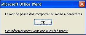 Message d'erreur lorsque le nombre minimal de caractères n'est pas respecté pour le mot de passe