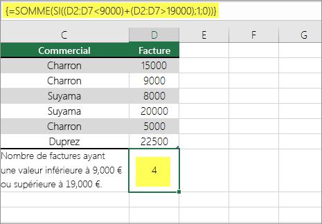 Exemple2: Fonctions SOMME et SI imbriquées dans une formule
