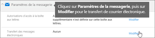 Choisissez Paramètres de courrier, puis choisissez Modifier.