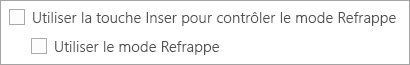 Les options de Refrappe dans Word