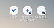 Capture d'écran montrant les raccourcis de l'écran d'accueil Android pour l'application tâches, ajouter une nouvelle tâche et Rechercher