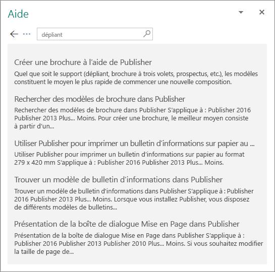 Capture d'écran du volet d'aide de Publisher2016 affichant les résultats d'une recherche pour «Trifold».