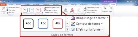 Onglet Format des Outils SmartArt.