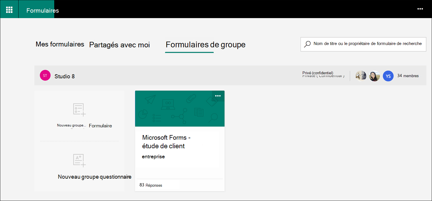 Onglet Formulaires de groupe Microsoft Forms