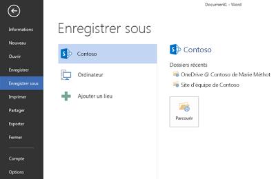 Capture d'écran montrant OneDrive Entreprise et un site SharePoint ajoutés comme emplacement