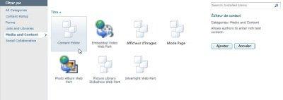Boîte de dialogue Autres composants WebPart