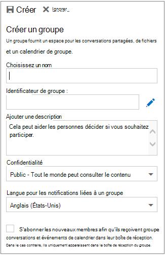 Créer un groupe dans le calendrier pour Outlook sur le web pour les clients professionnels