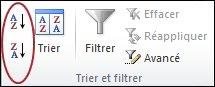 Boutons de tri dans le groupe Trier et filtrer sous l'onglet données dans Excel