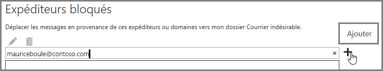 Blocage d'un expéditeur dans Outlook Web App