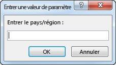 """Invite de paramètre comportant le texte """"Entrez le pays/la région""""."""