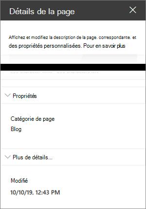 Volet Détails de la page avec catégorie Page du blog