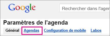 Calendrier Google - cliquez sur Calendriers