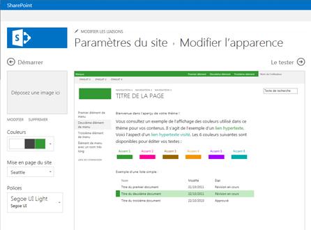 Exemple d'écran utilisé pour modifier les polices, les couleurs et la mise en page de votre site