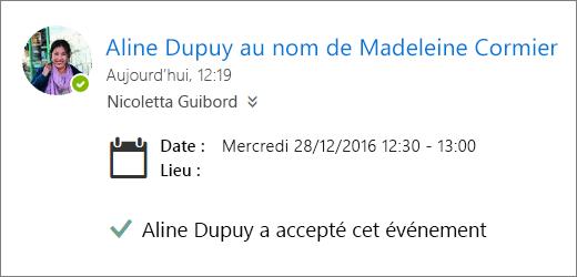 Une invitation à une réunion a été acceptée par un délégué