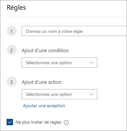 Créer une règle dans Outlook sur le web