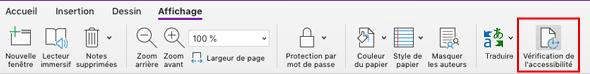 Outil Vérifier l'accessibilité dans OneNote pour Mac