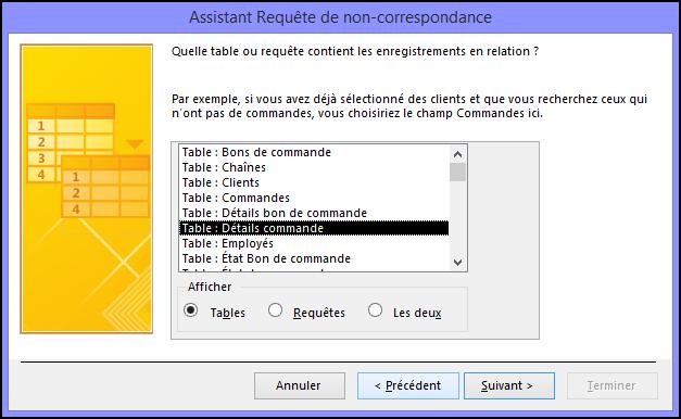 Sélectionnez une table ou requête contenant les enregistrements connexes dans la boîte de dialogue Assistant Requête de non-correspondance.