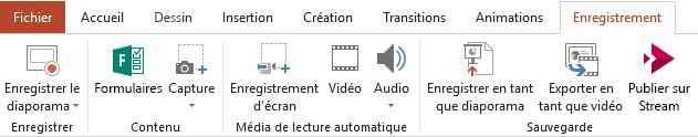Onglet Enregistrement sur le ruban dans PowerPoint2016