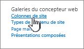 Option de colonne de site dans la page Paramètres du site