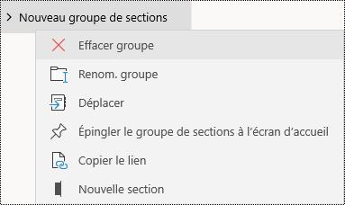 Supprimer des groupes de sections dans l'application OneNote pour Windows10